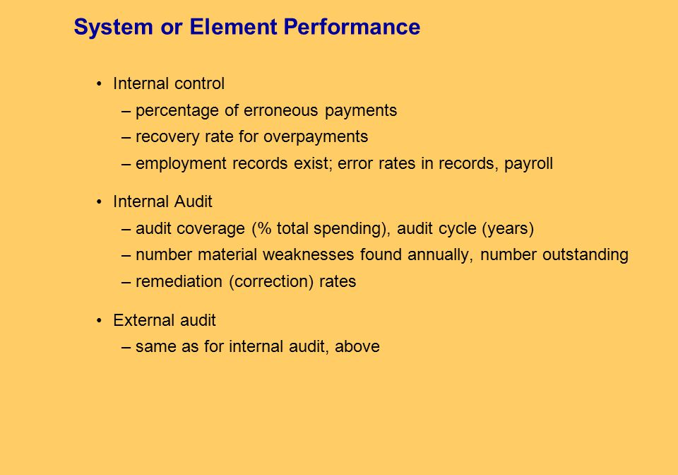 System or Element Performance Internal control – percentage of erroneous payments – recovery rate for overpayments – employment records exist; error rates in records, payroll Internal Audit – audit coverage (% total spending), audit cycle (years) – number material weaknesses found annually, number outstanding – remediation (correction) rates External audit – same as for internal audit, above