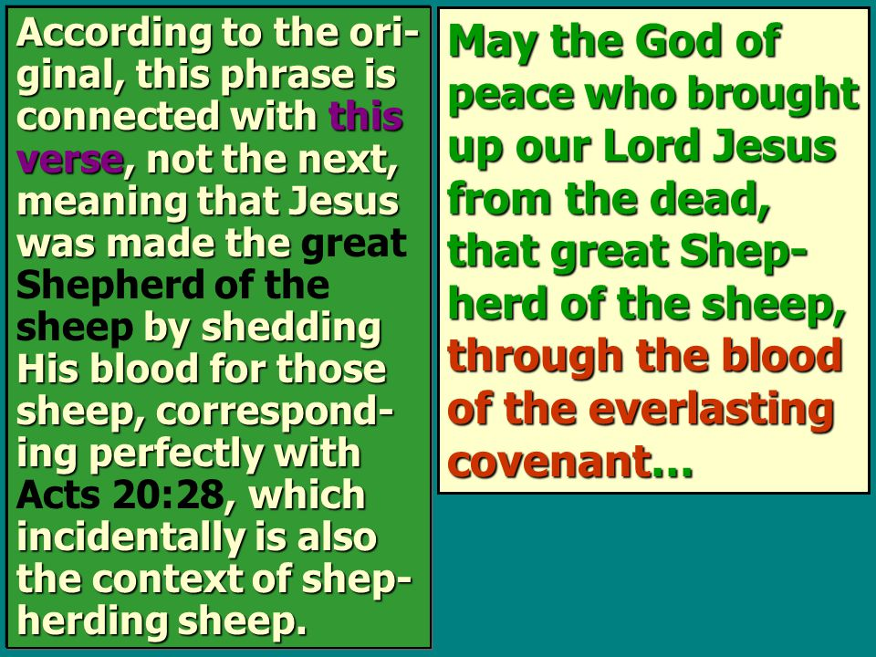 May the God of peace who brought up our Lord Jesus from the dead, that great Shep- herd of the sheep, through the blood of the everlasting covenant… A
