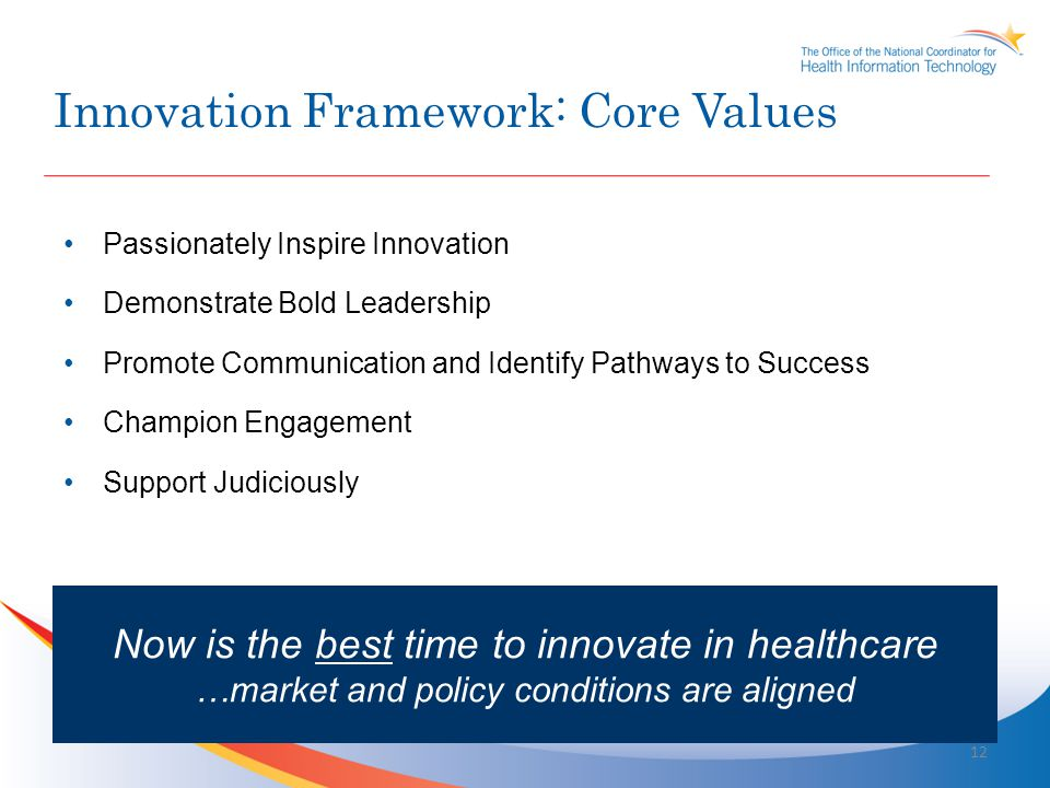 Supporting the Stages of Innovations – Select examples from ONC Concept + Ideation Prototype Proof of Concept Early Adoption Optimize + Refine Late Adoption Innovation risk and cost highlow Beacon Communities HIE Challenge Grants Innovation Scanning Innovations Exchange i2 - Prizes and Challenges DC-to-VC Innovation Exchanges CHDI / Health Data.gov S&I: Direct / NwHIN SHARP 13