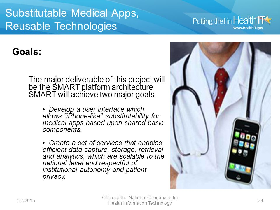 Medical Apps 5/7/201525 Progress to date: Fall 2011 Substitutable Medical Apps, Reusable Technologies (SMART) Created the SMART reference container, the test-bed for the SMART API and app development Developed the initial SMART API, the foundation of SMART-enablement and substitutability Developed initial SMART data models for basic medical record elements, incorporating existing coding systems (RxNorm, LOINC, SNOMED-CT) Held the SMART Apps for Health Challenge, which resulted in the submission of 15 apps SMART-enabled i2b2, a data analytics platform, and Indivo, a personally-controlled health record Showed the Challenge winner running against SMART i2b2 and SMART Indivo, thereby demonstrating substitutability in action Developed a pediatric blood pressure centiles SMART App, which is in the process of being put into production within a SMART-enabled Cerner installation at Children's Hospital, Boston Office of the National Coordinator for Health Information Technology