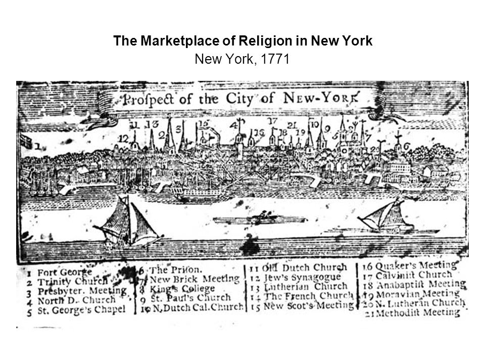 The Marketplace of Religion in New York New York, 1771