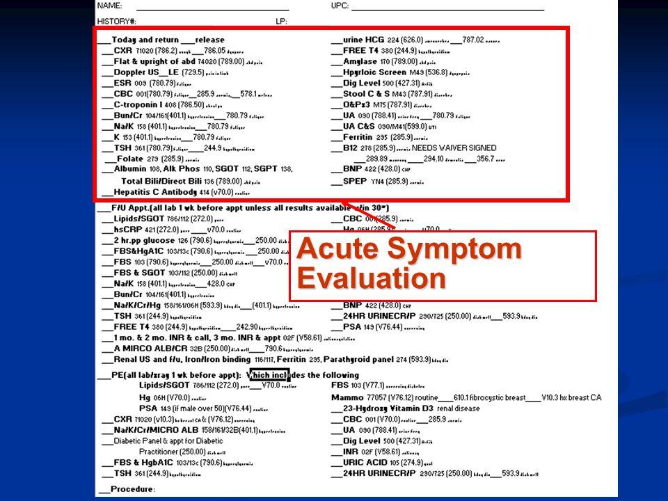 Acute Symptom Evaluation