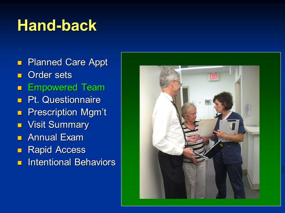 Hand-back Planned Care Appt Planned Care Appt Order sets Order sets Empowered Team Empowered Team Pt.