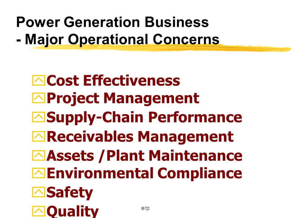 erp Power Generation Business - Major Operational Concerns yCost Effectiveness yProject Management ySupply-Chain Performance yReceivables Management yAssets /Plant Maintenance yEnvironmental Compliance ySafety yQuality