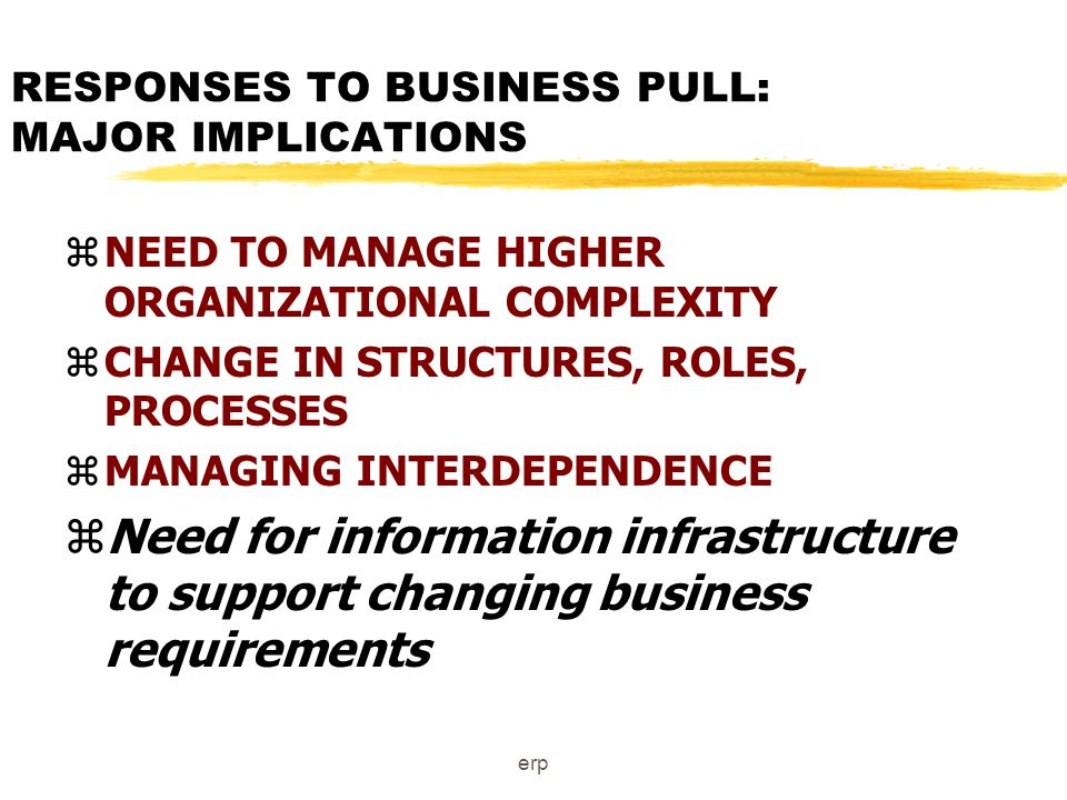 erp RESPONSES TO BUSINESS PULL: MAJOR IMPLICATIONS zNEED TO MANAGE HIGHER ORGANIZATIONAL COMPLEXITY zCHANGE IN STRUCTURES, ROLES, PROCESSES zMANAGING INTERDEPENDENCE zNeed for information infrastructure to support changing business requirements