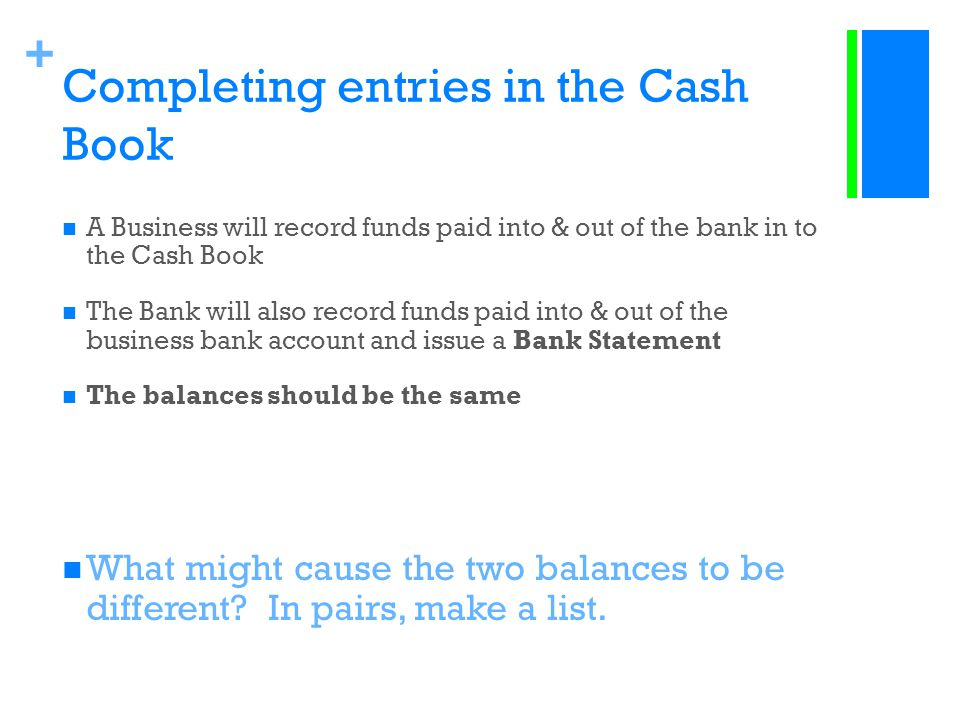 + Completing entries in the Cash Book A Business will record funds paid into & out of the bank in to the Cash Book The Bank will also record funds pai