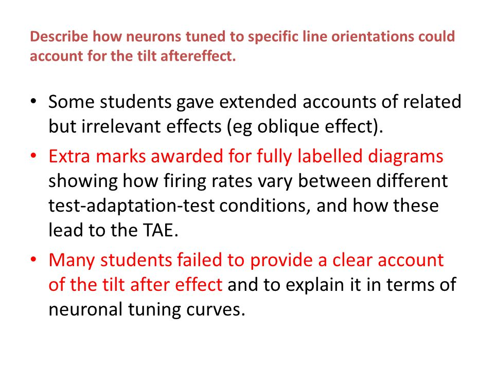 Describe how neurons tuned to specific line orientations could account for the tilt aftereffect. Some students gave extended accounts of related but i