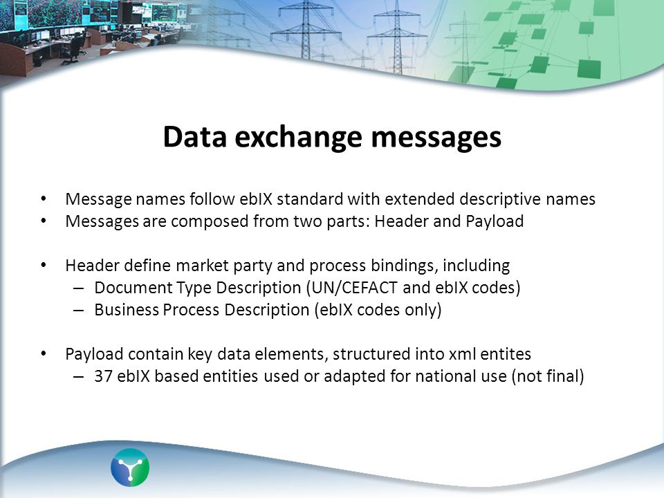 Data exchange messages Message names follow ebIX standard with extended descriptive names Messages are composed from two parts: Header and Payload Hea