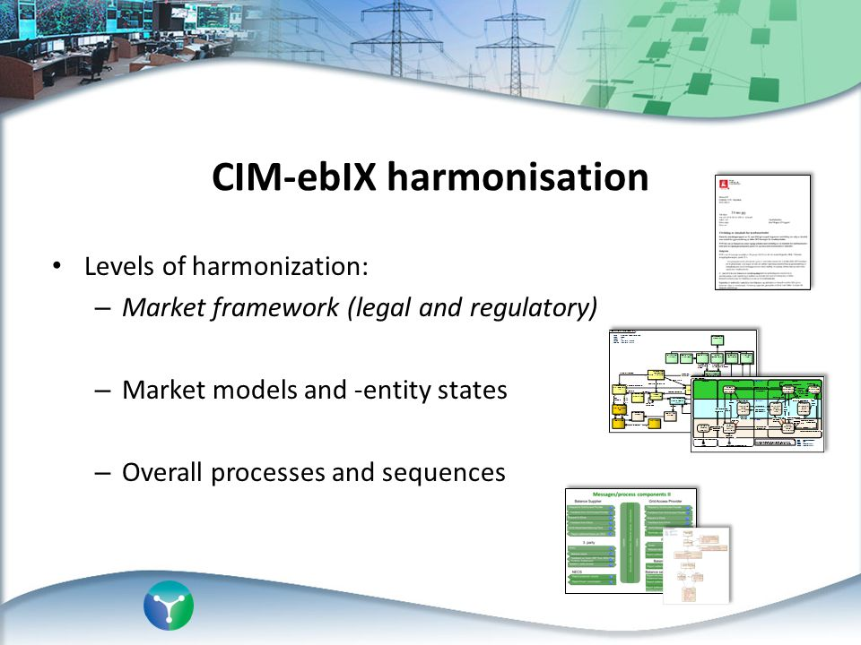 CIM-ebIX harmonisation Levels of harmonization: – Market framework (legal and regulatory) – Market models and -entity states – Overall processes and s