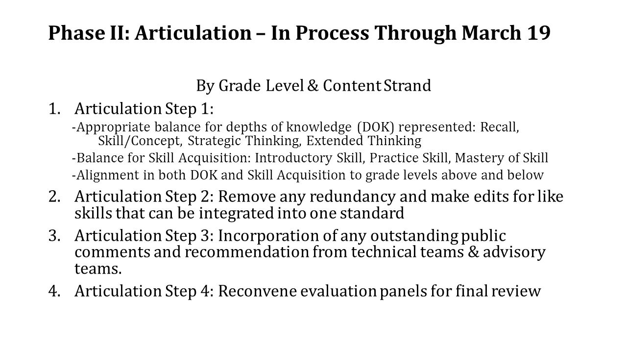 Phase II: Articulation – In Process Through March 19 By Grade Level & Content Strand 1.Articulation Step 1: -Appropriate balance for depths of knowledge (DOK) represented: Recall, Skill/Concept, Strategic Thinking, Extended Thinking -Balance for Skill Acquisition: Introductory Skill, Practice Skill, Mastery of Skill -Alignment in both DOK and Skill Acquisition to grade levels above and below 2.Articulation Step 2: Remove any redundancy and make edits for like skills that can be integrated into one standard 3.Articulation Step 3: Incorporation of any outstanding public comments and recommendation from technical teams & advisory teams.