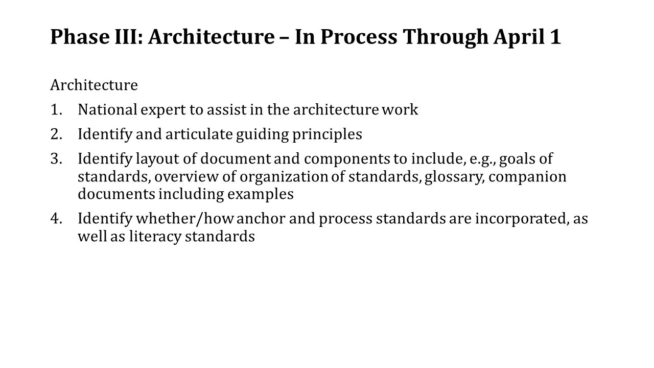Phase III: Architecture – In Process Through April 1 Architecture 1.National expert to assist in the architecture work 2.Identify and articulate guiding principles 3.Identify layout of document and components to include, e.g., goals of standards, overview of organization of standards, glossary, companion documents including examples 4.Identify whether/how anchor and process standards are incorporated, as well as literacy standards