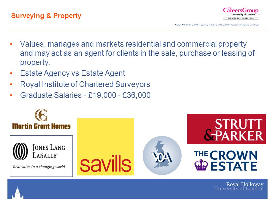 Royal Holloway Careers Service is part of The Careers Group, University of London Surveying & Property Values, manages and markets residential and commercial property and may act as an agent for clients in the sale, purchase or leasing of property.