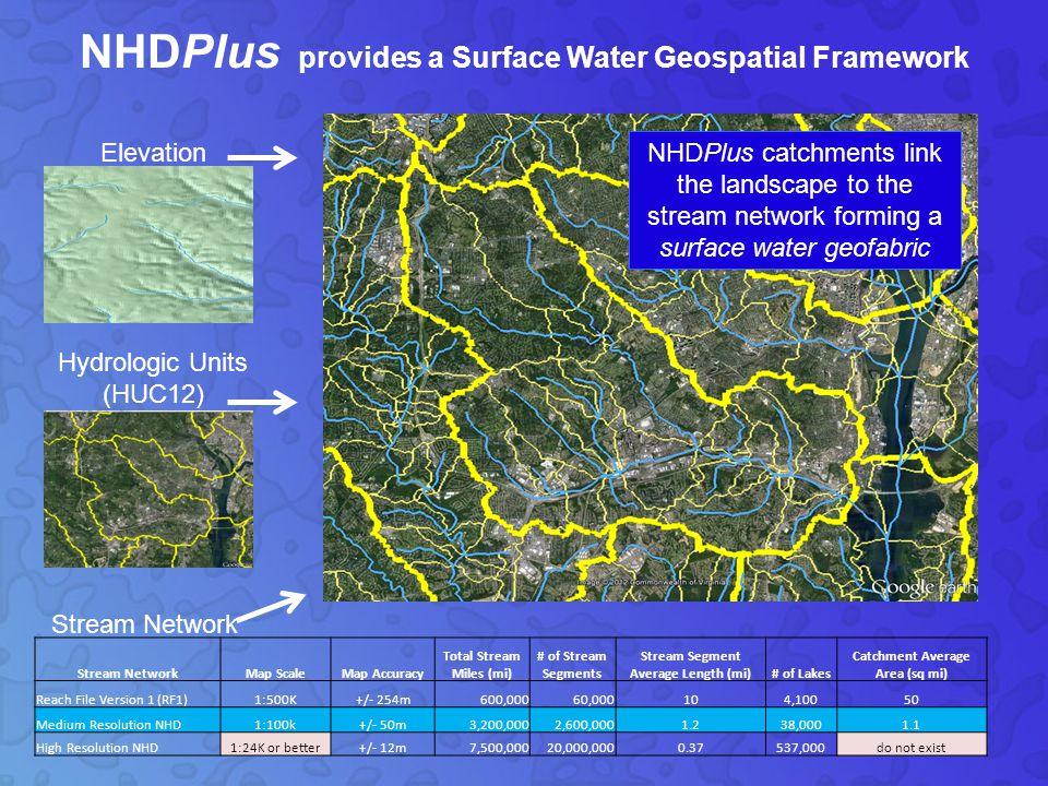 1980s EPA Reach File 1 (500K) 2000 NHD (100K) 2006 NHDPlus V1 (100K) 2007 NHD (24K or better) 2009 WBD (24k or better) 2010 NHD/WBD integration (24k or better) 2012 NHDPlus V2 (100K) xxxx .