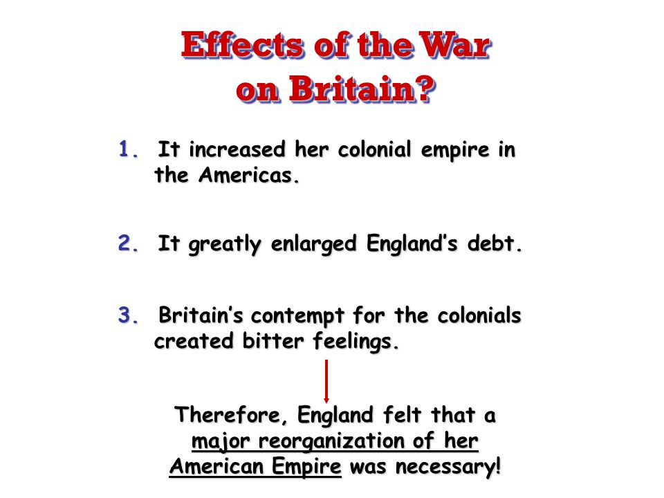 1. It increased her colonial empire in the Americas. 2. It greatly enlarged England's debt. 3. Britain's contempt for the colonials created bitter fee