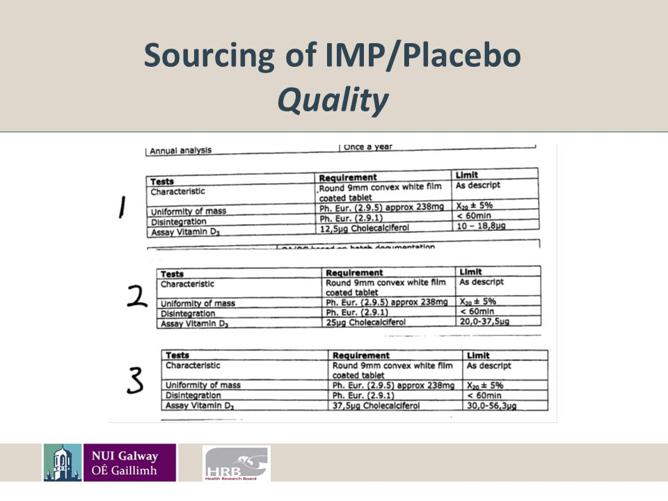 Sourcing of IMP/Placebo Quality