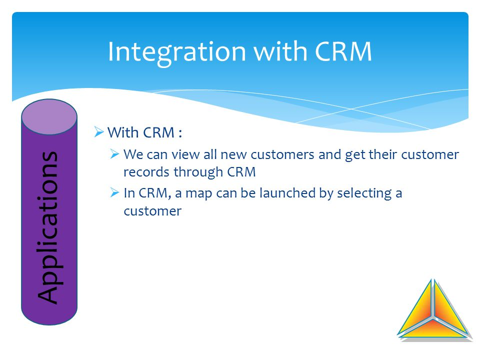 Integration with CRM Applications  With CRM :  We can view all new customers and get their customer records through CRM  In CRM, a map can be launc