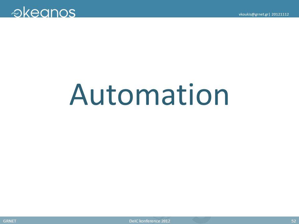 GRNETDeIC konference 201252 vkoukis@grnet.gr| 20121112 Automation
