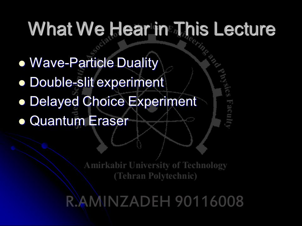 Wave-Particle Duality Antiquity (Egypt, Greece): particles towards or from the eye (Epicure, Aristotle, Euclid) from the eye (Epicure, Aristotle, Euclid) XVIIth cent.: Waves (as riddles on water ) Huyghens Newton (Opticks, 1702): particles (of various colours)
