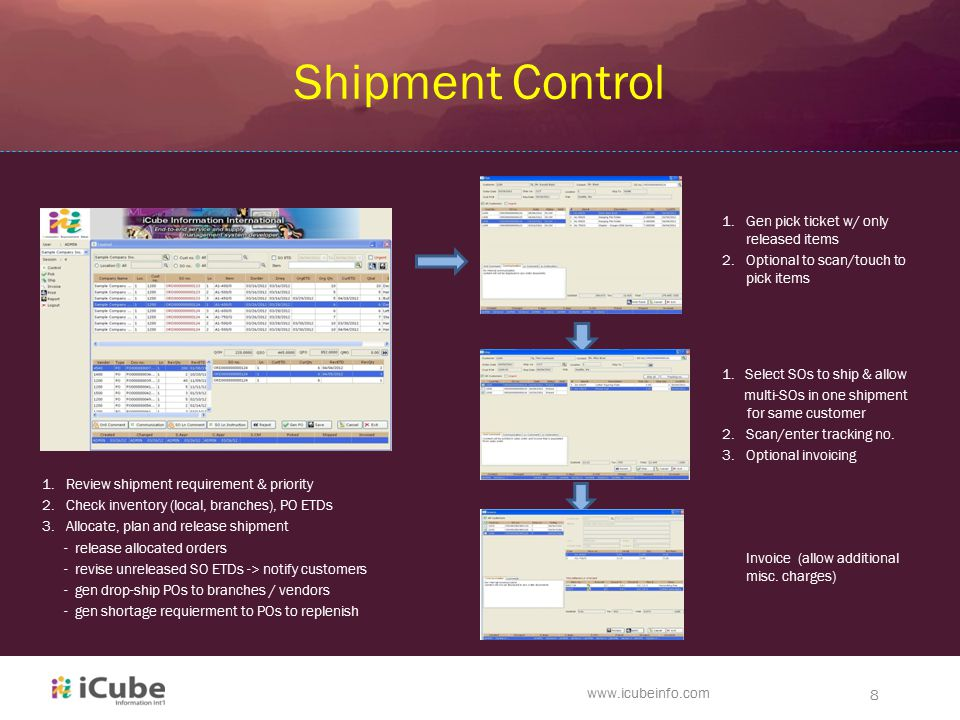 1 iCube Information Intl Management System Software Developer – Shipment Release