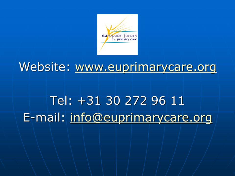 Website: www.euprimarycare.org www.euprimarycare.org Tel: +31 30 272 96 11 E-mail: info@euprimarycare.org info@euprimarycare.org