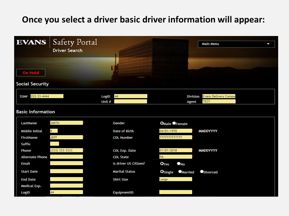 Once you select a driver basic driver information will appear: