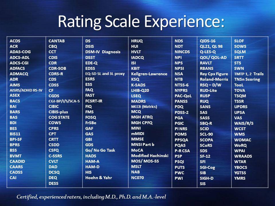 Rating Scale Experience: ACDS ACR ADAS-COG ADCS-ADL ADCS-CGI ADFACS ADMACQ ADR AIMS AISRS/ADHD RS-IV ASEX BACS BAI BARS BAS BDI BES BIS11 BPI-SF BPRS BSS BVMT CAADID CAARS CADSS CAI CANTAB CBQ CCT CDIS CDR CDR-SOB CDRS-R CDS CDSS CF CGDS CGI-BP/I/S/SCA-S CIBIC CIBIS-plus COG STATE COWS CPRS CPT CRTT CSDD CSFQ C-SSRS CVLT DAD DCSQ DEQ DESS DS DSIS DSM-IV Diagnosis DSST EDE-Q EDSS EQ-5D 5L and 3L proxy ESRS ESS FAQ FAST FCSRT-IR FIQ FMS FOSQ FrSBe GAF GAS GBI GDS Go/ No Go Task HADS HAM-A HAM-D HIS Hoehn & Yahr HRUQ HUI HVLT IADCQ ISI KBIT Kellgren-Lawrence KSQ K-SADS LHIB-Q20 LSEQ MADRS MCCB (Matrics) MCQ MGH ATRQ MGH CPFQ MINI mMIDI MMSE MNSI Part b MoCA Modified Hachinski MOS/ MOS-SS MSLT NAB NC070 NDS NDT NINCDS NPI NPS NPSI NSA NTB NTSS-6 NYPRS PAC-QoL PANSS PDQ PDSS-2 PGA PGIC PI NRS POMS PPSQA PQAS P-R CSA PSP PSQI PUTS PWC PWI QIDS-16 QL21, QL 98 Q-LES-Q QOL/ QOL-AD RAVLT RBANS Rey Cpx Figure Roland-Morris RSQ – D/W RUD-Lite RUSP RUQ SANS SAS SASS SBQ-R SCID SCL-90 SCOPA SCoRS SDS SF-12 SFI SGI-Cog SIB SIGH-D SIS SLOF SOWS SQLM SRTT STS SWN TMTP 1, 2 Trails TNSn Scoring TooL TOVA TSQM TSSR UPDRS UPSA VAS WAIS/R/S WCST WMS WOMAC WoRQ WPAI WRAADS WTAR YBOCS YGTSS YMRS Certified, experienced raters, including M.D., Ph.D.