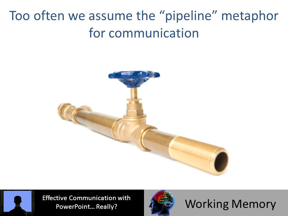 Too often we assume the pipeline metaphor for communication Effective Communication with PowerPoint… Really.