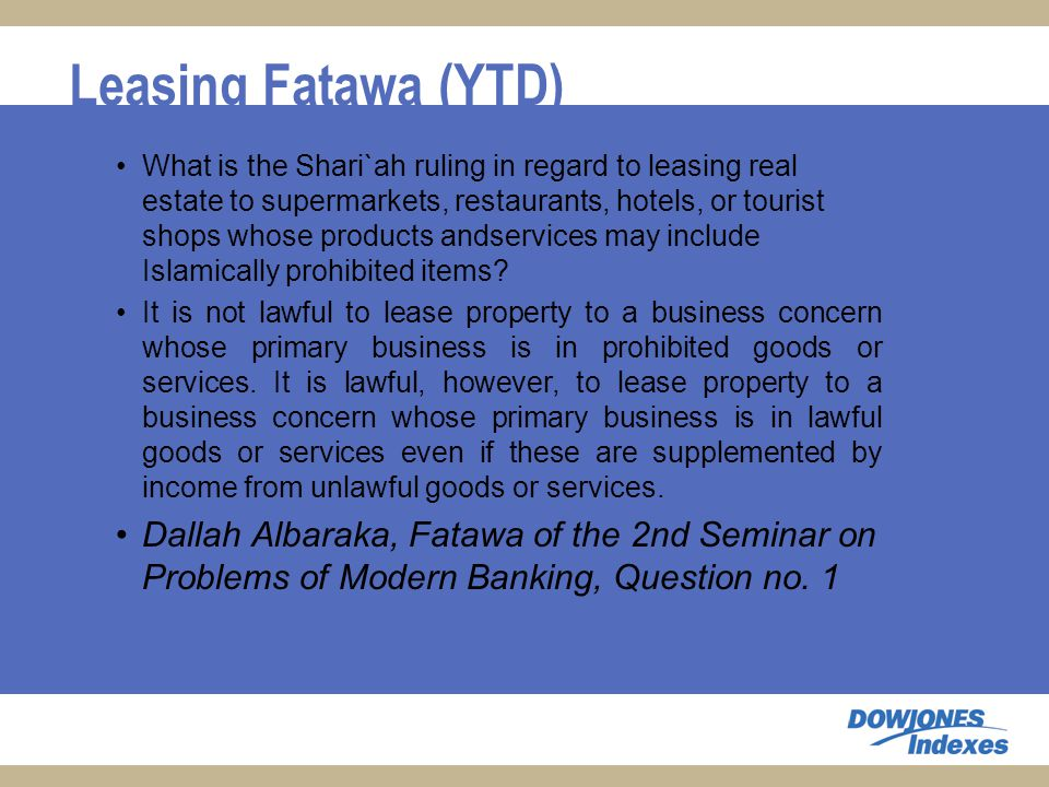 Leasing Fatawa (YTD) What is the Shari`ah ruling in regard to leasing real estate to supermarkets, restaurants, hotels, or tourist shops whose products andservices may include Islamically prohibited items.