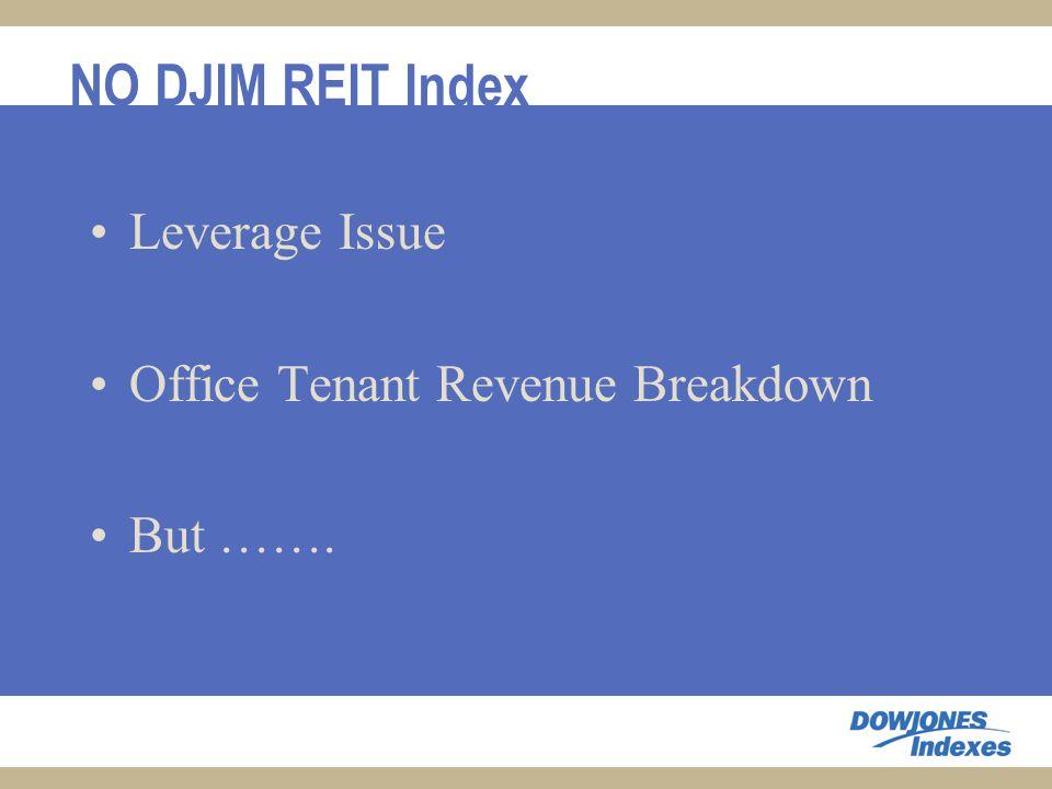 NO DJIM REIT Index Leverage Issue Office Tenant Revenue Breakdown But …….