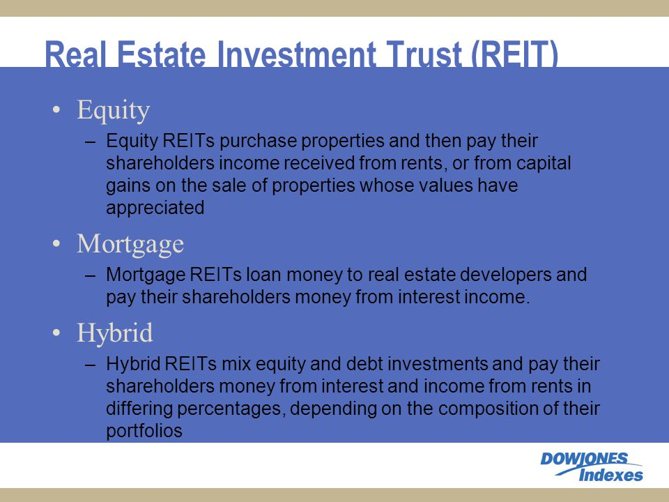 Real Estate Investment Trust (REIT) Equity –Equity REITs purchase properties and then pay their shareholders income received from rents, or from capital gains on the sale of properties whose values have appreciated Mortgage –Mortgage REITs loan money to real estate developers and pay their shareholders money from interest income.