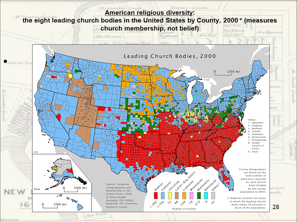 American religious diversity: the eight leading church bodies in the United States by County, 2000 * (measures church membership, not belief) 28