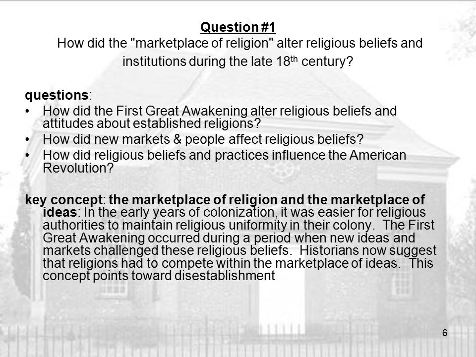 How did the First Great Awakening alter religious beliefs and attitudes about established religions.