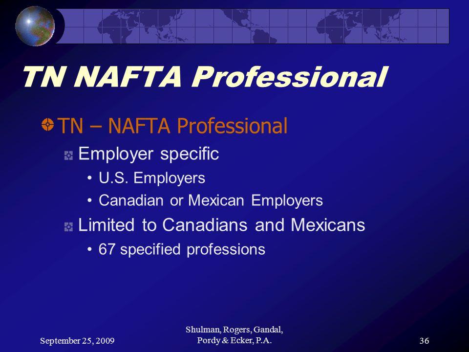 September 25, 2009 Shulman, Rogers, Gandal, Pordy & Ecker, P.A.36 TN NAFTA Professional TN – NAFTA Professional Employer specific U.S.
