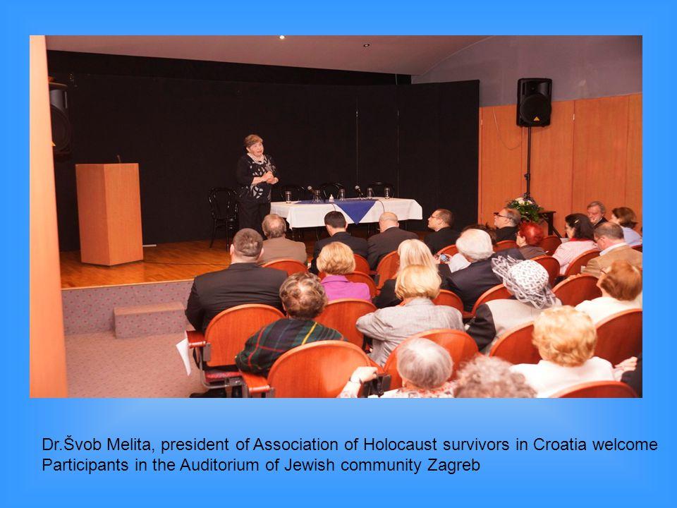 Dr.Švob Melita, president of Association of Holocaust survivors in Croatia welcome Participants in the Auditorium of Jewish community Zagreb