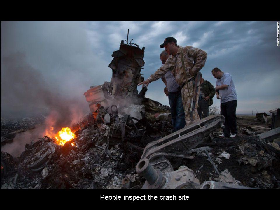 Wreckage burns in Ukraine.
