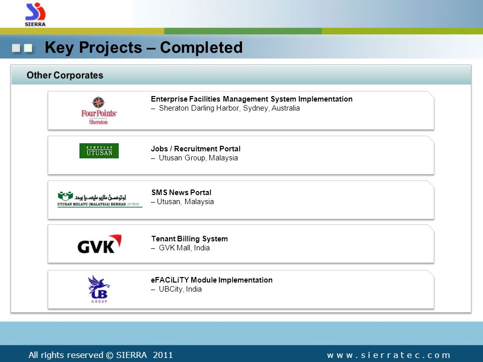 Key Projects – Completed w w w. s i e r r a t e c.