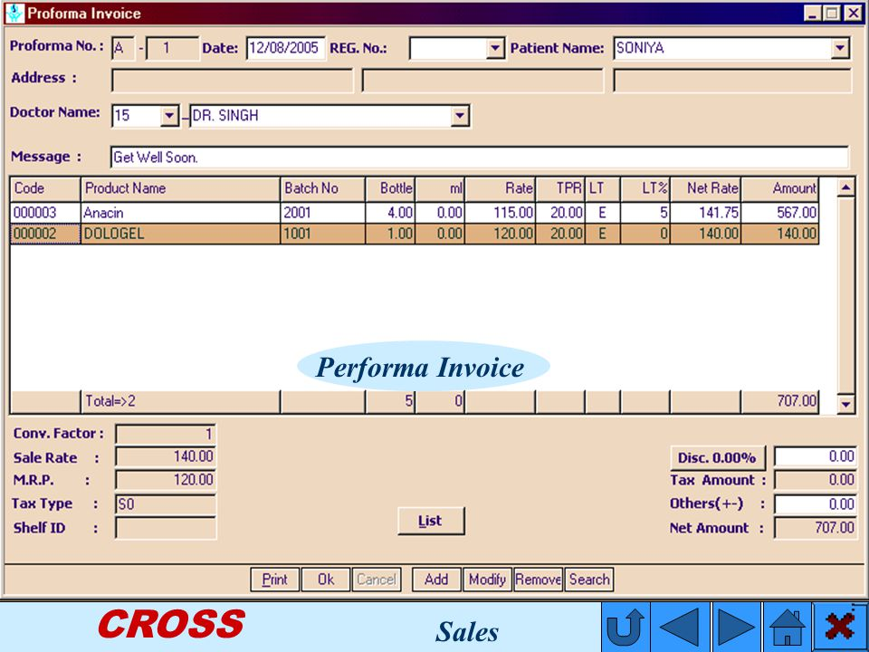 CROSS Performa Invoice Sales