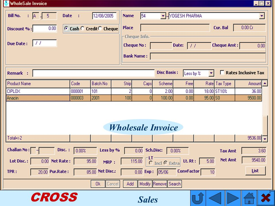 CROSS Wholesale Invoice Sales