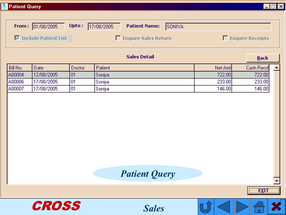 CROSS Patient Query Sales