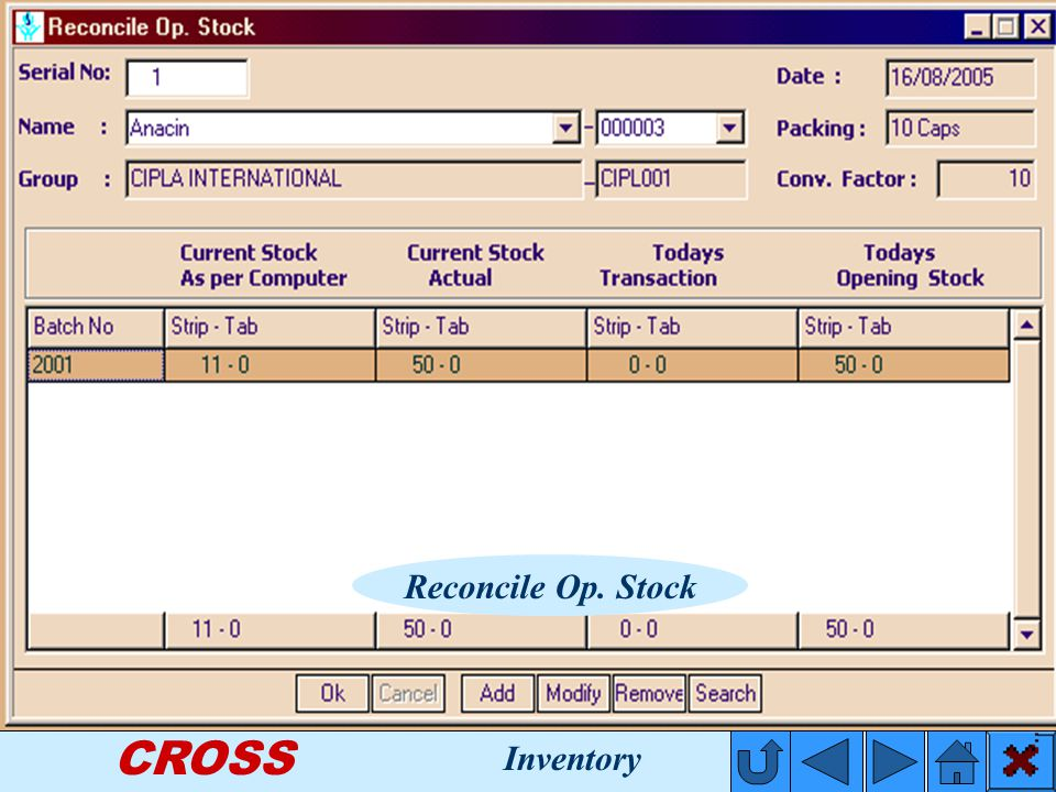CROSS Reconcile Op. Stock Inventory