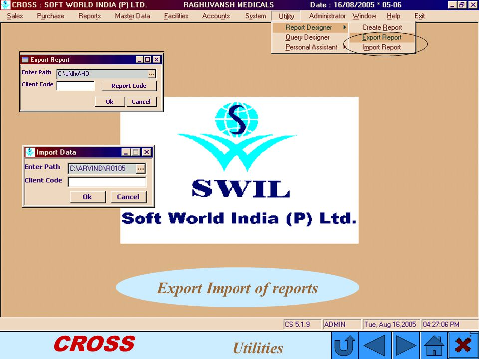 CROSS Export Import of reports Utilities