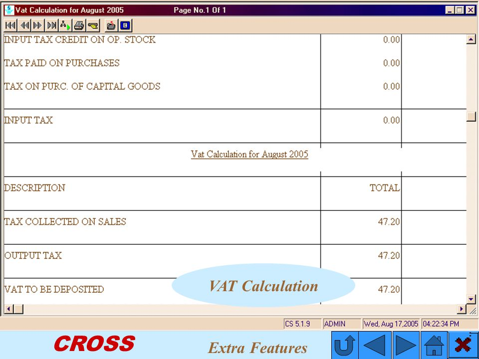 CROSS VAT Calculation Extra Features