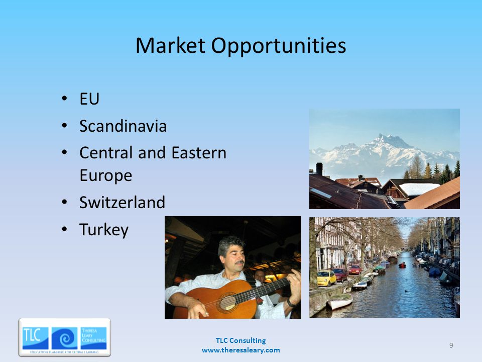 Market Opportunities EU Scandinavia Central and Eastern Europe Switzerland Turkey TLC Consulting www.theresaleary.com 3/28/20079