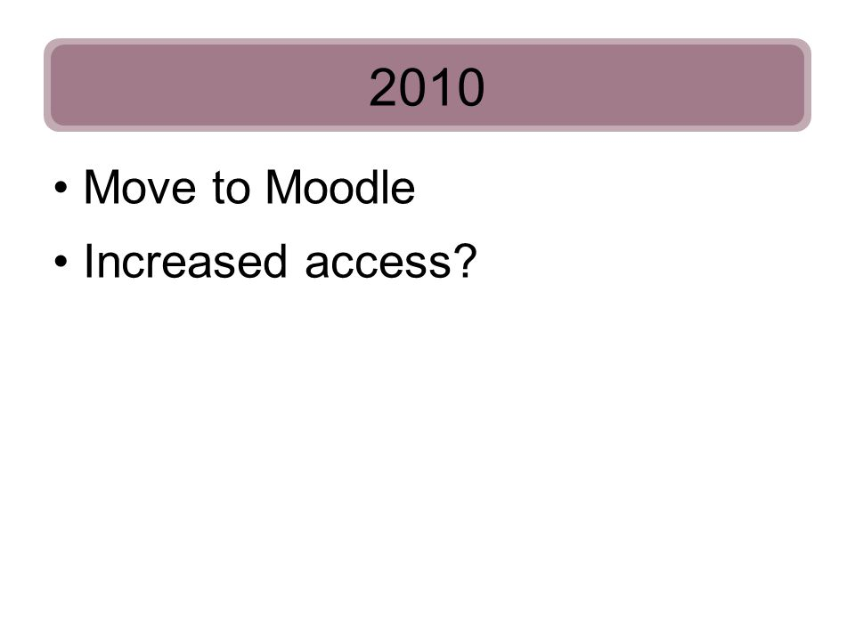 2010 Increased access? Move to Moodle