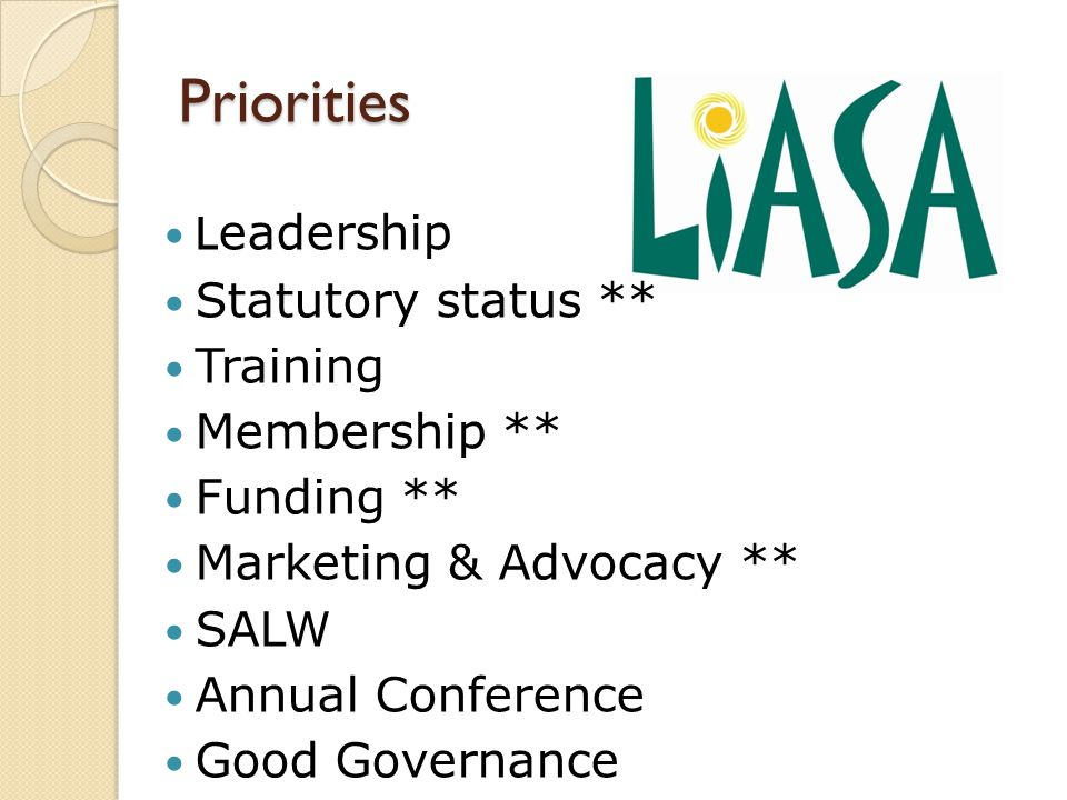 L eadership Statutory status ** Training Membership ** Funding ** Marketing & Advocacy ** SALW Annual Conference Good Governance Priorities