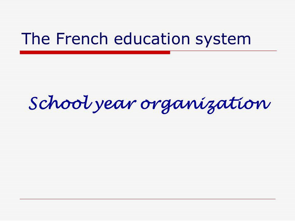 The French education system School year organization