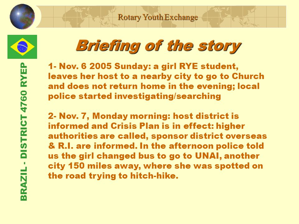BRAZIL - DISTRICT 4760 RYEP Briefing of the story Rotary Youth Exchange 1- Nov.