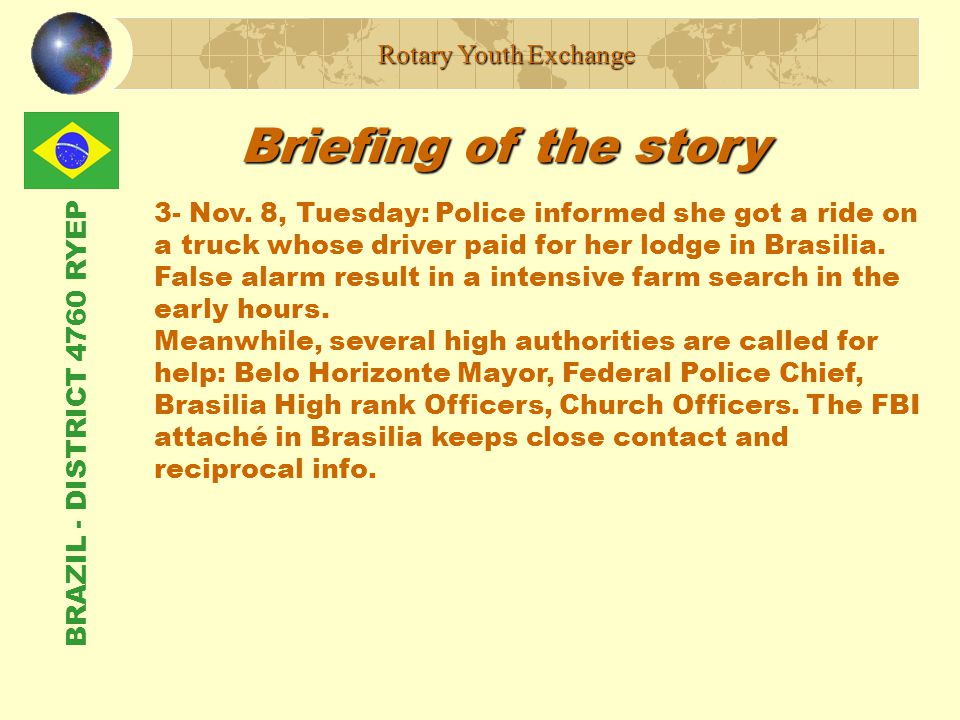 BRAZIL - DISTRICT 4760 RYEP Briefing of the story Rotary Youth Exchange 3- Nov.
