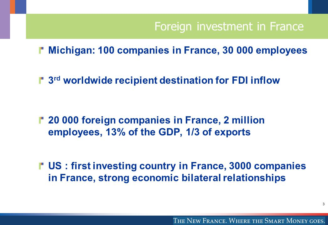 3 Foreign investment in France Michigan: 100 companies in France, 30 000 employees 3 rd worldwide recipient destination for FDI inflow 20 000 foreign companies in France, 2 million employees, 13% of the GDP, 1/3 of exports US : first investing country in France, 3000 companies in France, strong economic bilateral relationships