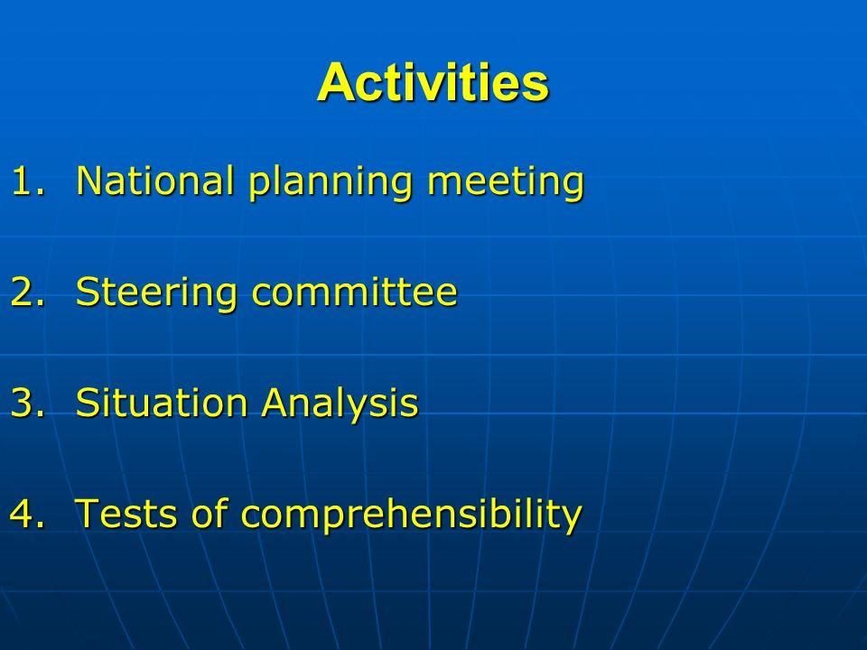 Activities 1. National planning meeting 2. Steering committee 3.